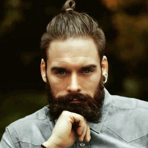Full beard with a top Knot