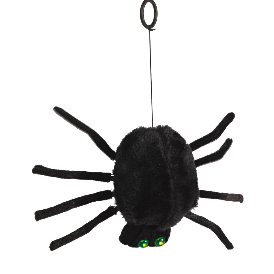 dropping-furry-spider-with-green-led-eyes